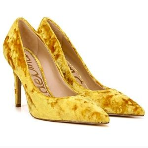 Sam Edelman Yellow Velvet Hazel Pointed Toe Pump 7